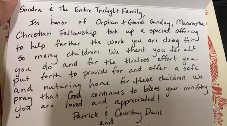 Thank You Maranatha Christian Fellowship
