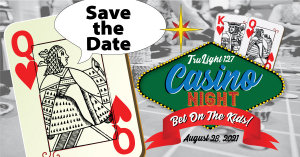 """Queen of Hearts card saying """"Save the Date"""" for TruLight Casino Night August 28, 2021"""